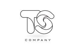 Contorno del profilo di Logo With Thin Black Monogram della lettera del monogramma degli ST Fotografia Stock Libera da Diritti