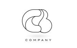 Contorno del profilo di Logo With Thin Black Monogram della lettera del monogramma dei CB Immagini Stock Libere da Diritti