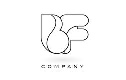 Contorno del profilo di Logo With Thin Black Monogram della lettera del monogramma del BF Immagine Stock