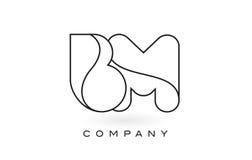 Contorno del profilo di Logo With Thin Black Monogram della lettera del monogramma del BM Fotografia Stock