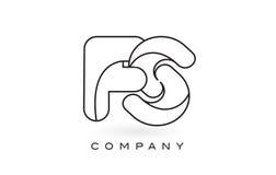 Contorno del profilo di Logo With Thin Black Monogram della lettera del monogramma del FS Fotografia Stock