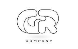 Contorno del profilo di Logo With Thin Black Monogram della lettera del monogramma del GR Immagini Stock Libere da Diritti