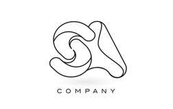 Contorno del profilo di Logo With Thin Black Monogram della lettera del monogramma del SA Fotografie Stock