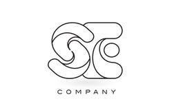 Contorno del profilo di Logo With Thin Black Monogram della lettera del monogramma del Se Fotografia Stock Libera da Diritti