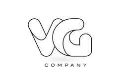 Contorno del profilo di Logo With Thin Black Monogram della lettera del monogramma del VG Fotografia Stock Libera da Diritti