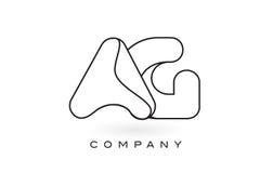 Contorno del profilo di Logo With Thin Black Monogram della lettera del monogramma dell'AG Fotografie Stock Libere da Diritti