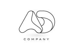 Contorno del profilo di Logo With Thin Black Monogram della lettera del monogramma dell'ANNUNCIO Immagini Stock