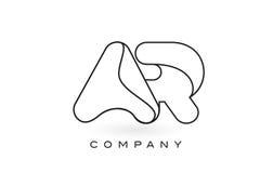 Contorno del profilo di Logo With Thin Black Monogram della lettera del monogramma dell'AR Immagini Stock