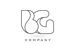 Contorno del profilo di Logo With Thin Black Monogram della lettera del monogramma della BG Immagini Stock Libere da Diritti