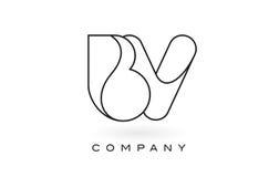 Contorno del profilo di Logo With Thin Black Monogram della lettera del monogramma della BV Fotografia Stock Libera da Diritti