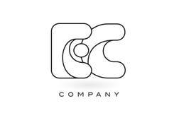 Contorno del profilo di Logo With Thin Black Monogram della lettera del monogramma della CE Fotografia Stock Libera da Diritti