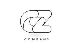 Contorno del profilo di Logo With Thin Black Monogram della lettera del monogramma della CZ Immagine Stock Libera da Diritti