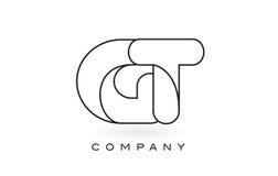 Contorno del profilo di Logo With Thin Black Monogram della lettera del monogramma della GT Fotografie Stock