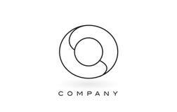 Contorno del profilo di Logo With Thin Black Monogram della lettera del monogramma della O Immagini Stock