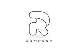 Contorno del profilo di Logo With Thin Black Monogram della lettera del monogramma della R Immagini Stock Libere da Diritti