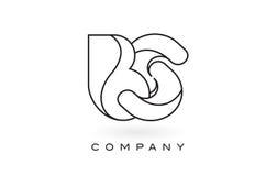 Contorno del profilo di Logo With Thin Black Monogram della lettera del monogramma delle BS Immagini Stock