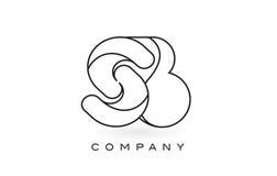 Contorno del profilo di Logo With Thin Black Monogram della lettera del monogramma dello SB Fotografia Stock