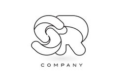 Contorno del profilo di Logo With Thin Black Monogram della lettera del monogramma dello SR Fotografia Stock Libera da Diritti