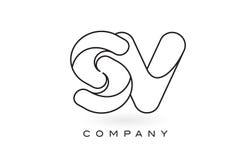 Contorno del profilo di Logo With Thin Black Monogram della lettera del monogramma dello SV Fotografie Stock