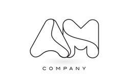 Contorno del profilo di Logo With Thin Black Monogram della lettera del monogramma di  Fotografia Stock