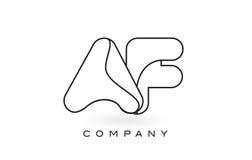 Contorno del profilo di Logo With Thin Black Monogram della lettera del monogramma di AF Immagini Stock Libere da Diritti