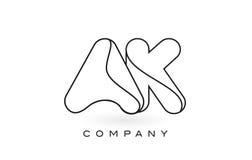 Contorno del profilo di Logo With Thin Black Monogram della lettera del monogramma di AK Fotografia Stock