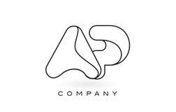 Contorno del profilo di Logo With Thin Black Monogram della lettera del monogramma di AP Fotografia Stock Libera da Diritti