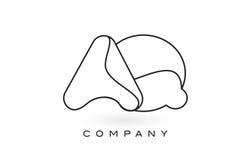 Contorno del profilo di Logo With Thin Black Monogram della lettera del monogramma di AQ Immagini Stock Libere da Diritti
