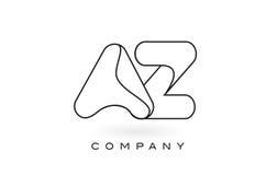 Contorno del profilo di Logo With Thin Black Monogram della lettera del monogramma di AZ Fotografia Stock Libera da Diritti