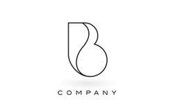 Contorno del profilo di Logo With Thin Black Monogram della lettera del monogramma di B Immagine Stock Libera da Diritti