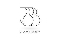 Contorno del profilo di Logo With Thin Black Monogram della lettera del monogramma di BB Fotografie Stock Libere da Diritti