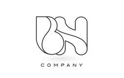 Contorno del profilo di Logo With Thin Black Monogram della lettera del monogramma di BN Fotografia Stock