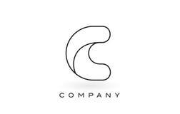 Contorno del profilo di Logo With Thin Black Monogram della lettera del monogramma di C Fotografie Stock Libere da Diritti