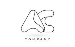 Contorno del profilo di Logo With Thin Black Monogram della lettera del monogramma di CA Fotografia Stock