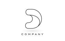 Contorno del profilo di Logo With Thin Black Monogram della lettera del monogramma di D Immagine Stock