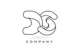 Contorno del profilo di Logo With Thin Black Monogram della lettera del monogramma di DS Immagini Stock