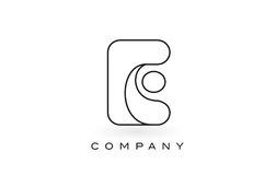 Contorno del profilo di Logo With Thin Black Monogram della lettera del monogramma di E Fotografie Stock