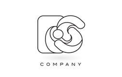 Contorno del profilo di Logo With Thin Black Monogram della lettera del monogramma di es Fotografie Stock