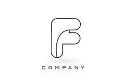 Contorno del profilo di Logo With Thin Black Monogram della lettera del monogramma di F Fotografia Stock