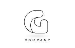 Contorno del profilo di Logo With Thin Black Monogram della lettera del monogramma di G Immagini Stock
