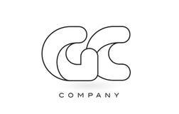 Contorno del profilo di Logo With Thin Black Monogram della lettera del monogramma di GASCROMATOGRAFIA Fotografia Stock Libera da Diritti