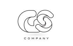 Contorno del profilo di Logo With Thin Black Monogram della lettera del monogramma di GS Fotografie Stock Libere da Diritti