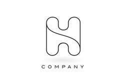 Contorno del profilo di Logo With Thin Black Monogram della lettera del monogramma di H Immagini Stock