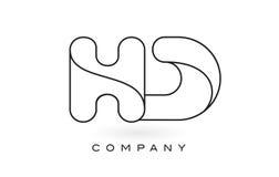 Contorno del profilo di Logo With Thin Black Monogram della lettera del monogramma di HD Immagine Stock Libera da Diritti