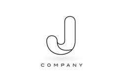 Contorno del profilo di Logo With Thin Black Monogram della lettera del monogramma di J Fotografia Stock Libera da Diritti