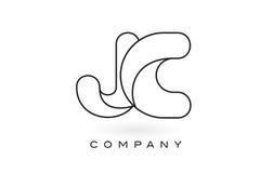 Contorno del profilo di Logo With Thin Black Monogram della lettera del monogramma di JC Fotografia Stock