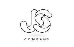 Contorno del profilo di Logo With Thin Black Monogram della lettera del monogramma di JS Immagine Stock Libera da Diritti