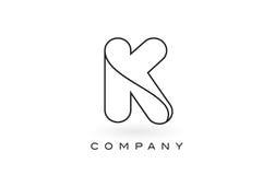 Contorno del profilo di Logo With Thin Black Monogram della lettera del monogramma di K Immagine Stock
