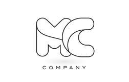 Contorno del profilo di Logo With Thin Black Monogram della lettera del monogramma di MC Fotografia Stock