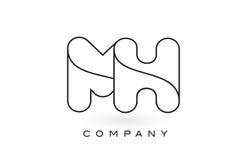 Contorno del profilo di Logo With Thin Black Monogram della lettera del monogramma di MH Fotografia Stock